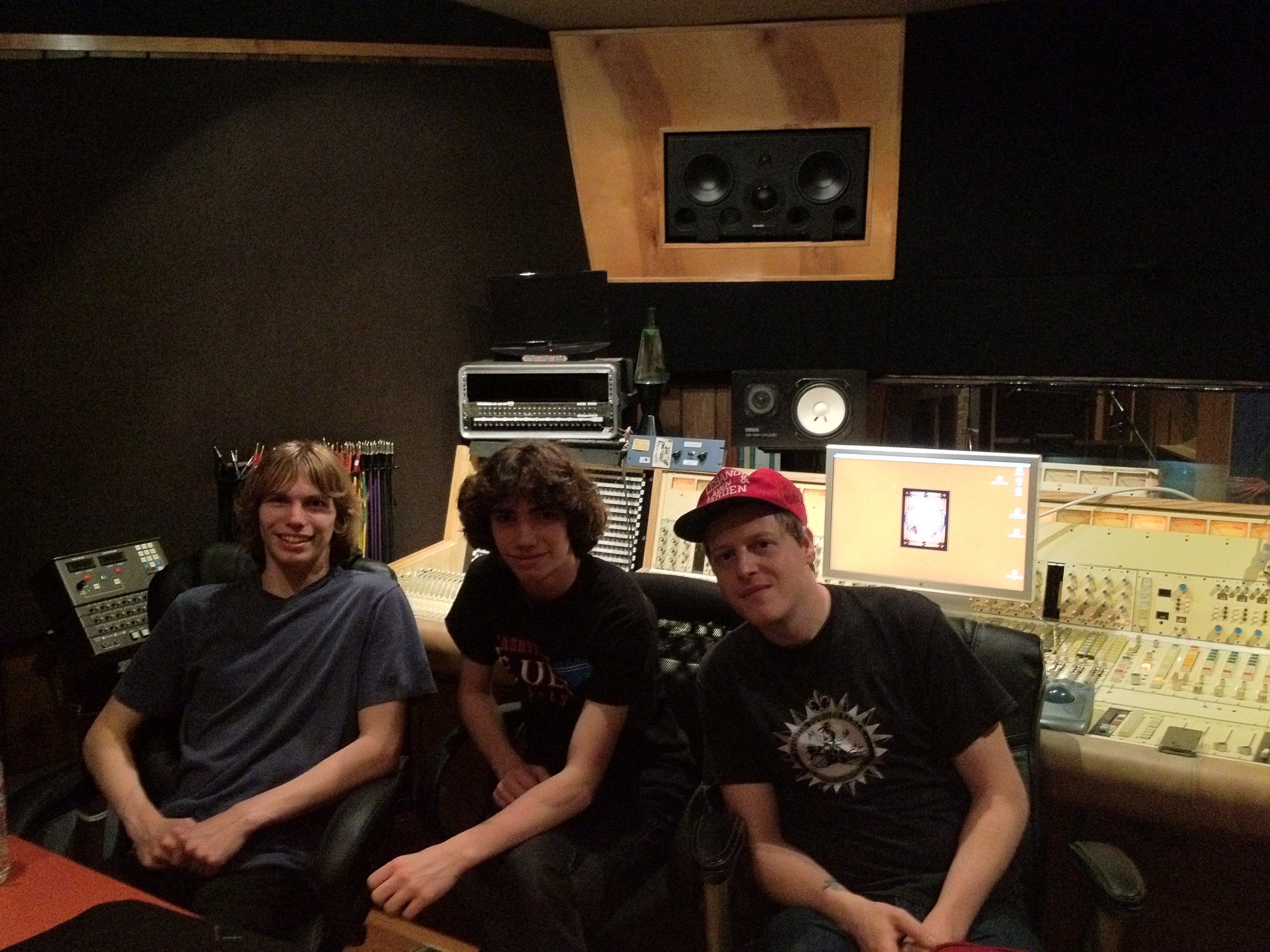 L-R: Brian, Jeff, and recording engineer Adam Bednarik in the control room.