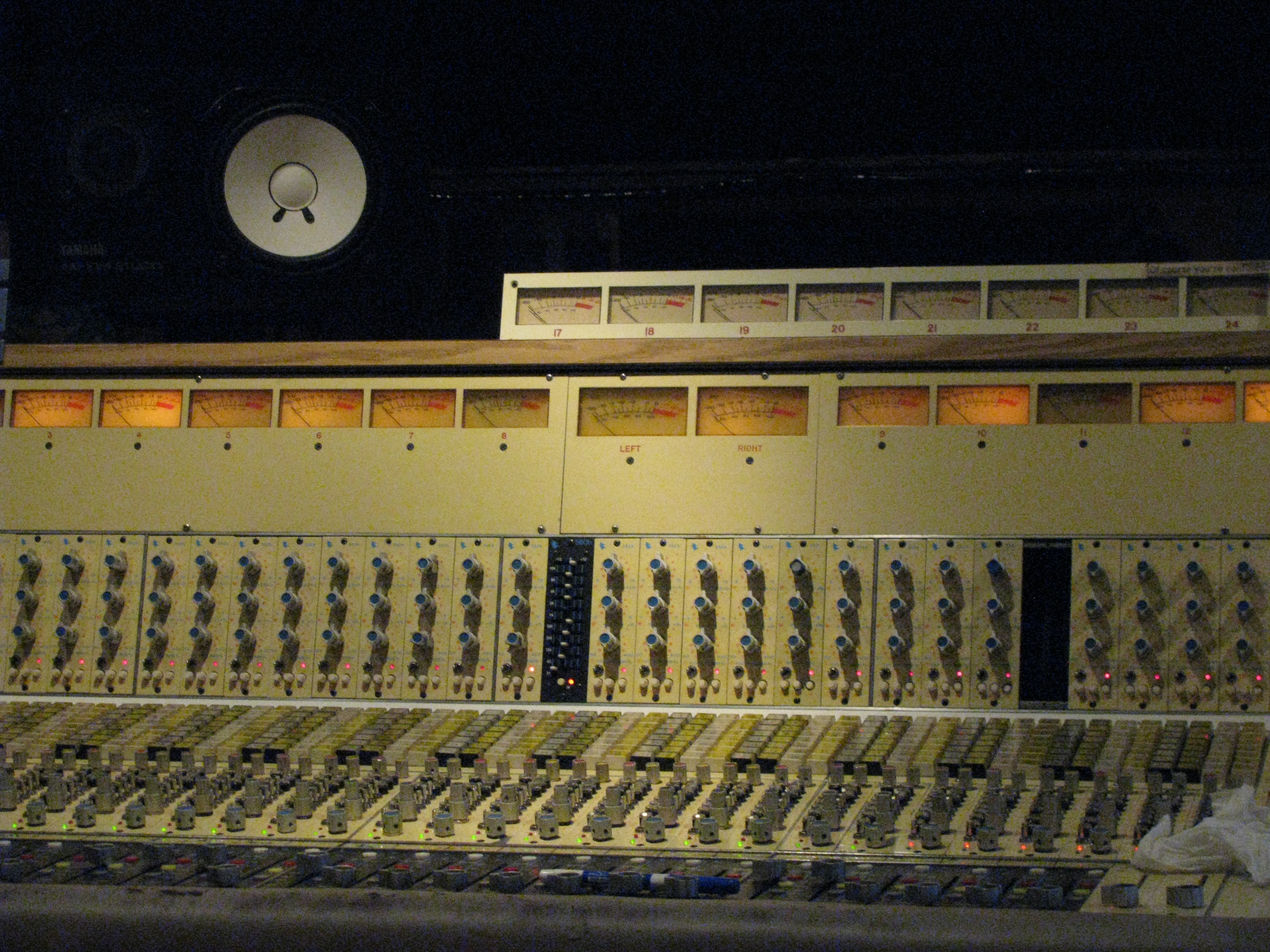 The mixing console at House of David. This board has recorded Neil Young, Justin Townes Earle, Peter Cooper, and many others.